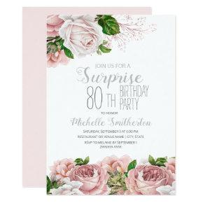 Blush Pink Floral Surprise 80th Birthday Invitation