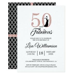 Blush Pink Glitter 50 Fabulous 50th Birthday Party Invitation