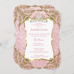 Blush Pink Glitter Birthday Party Gold White Tiara Invitation