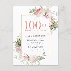 Blush Pink Gold Floral 100th Birthday Party Invitation Post