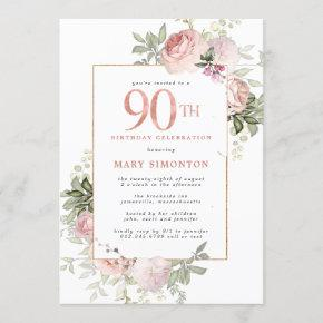 Blush Pink Gold Floral 90th Birthday Party Invitation