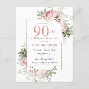 Blush Pink Gold Floral 90th Birthday Party Invitation Post