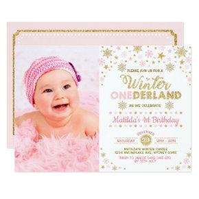 Blush Pink Gold Winter ONEderland 1st Birthday Invitation