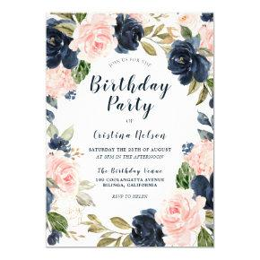 Blush Pink & Navy Flowers All Years Birthday Party Invitation