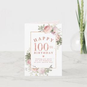 Blush Pink Rose Floral Gold 100th Birthday