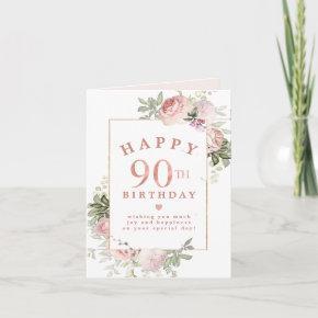 Blush Pink Rose Floral Gold 90th Birthday