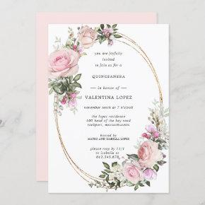 Blush Pink Rose Floral Gold Quinceanera Invitation