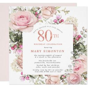 Blush Pink Rose Floral Square 80th Birthday Party Invitation