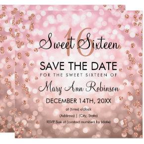 Blush Pink Rose Gold Sweet 16 Glitter Lights Invitation