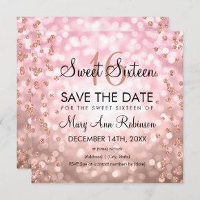 Blush Pink Rose Gold Sweet 16 Glitter Lights Invitation