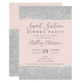 Blush pink silver glitter typography Sweet Sixteen Invitation