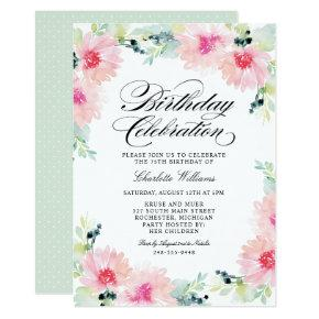 Blush Pink Spring Daisy Watercolor Birthday Invitation