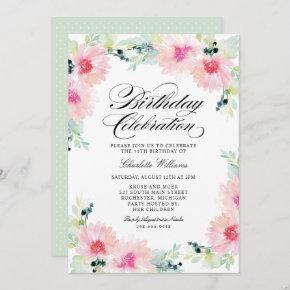Blush Pink Spring Daisy Watercolor Birthday Invitation