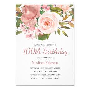 Blush & Rose Gold 100th Birthday Party Invite