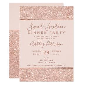 Blush rose gold glitter typography Sweet Sixteen Invitation