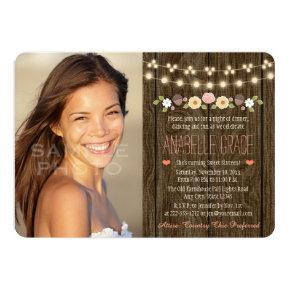 Blush String of Lights Rustic Sweet Sixteen Card