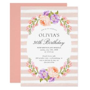 Blush Stripe and Bloom Birthday Brunch Party Invitation