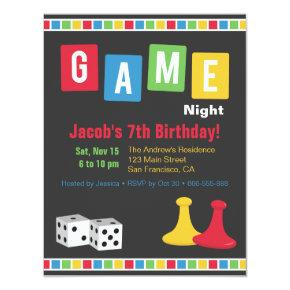 Board Game Night Kids Birthday Party Invitations