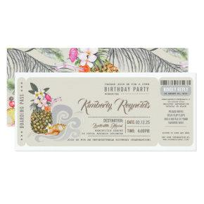 Boarding Pass | Pineapple | Beach Birthday Party Card