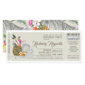 Boarding Pass | Pineapple | Beach Birthday Party Invitations