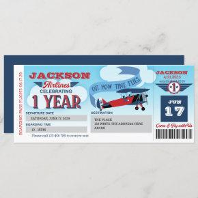 Boarding Pass, Plane Ticket, Time Flies, 1st Invit Invitation