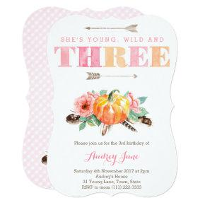 Bohemian Fall 3rd Birthday Party Invitations for Girl