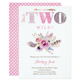 Bohemian She's TWO Wild 2nd birthday Party, Girl Invitations