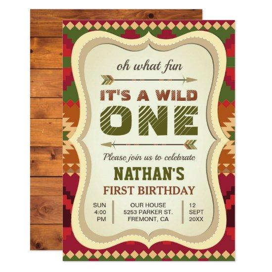 Boho Aztec Tribal Arrow Wild One Boys 1st Birthday Invitation