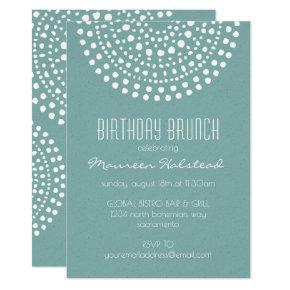 Boho Bali Birthday Brunch on Teal Invitation