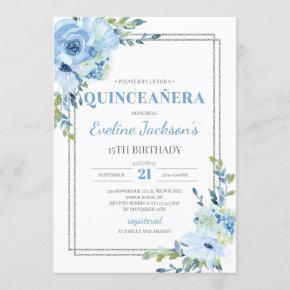 Boho blue floral silver frame rustic quinceanera invitation
