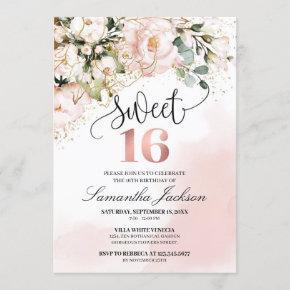 Boho blush pink floral rose gold sweet sixteen invitation