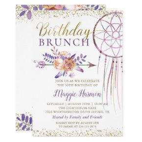 Boho Chic Floral Dreamcatcher Birthday Brunch Invitation