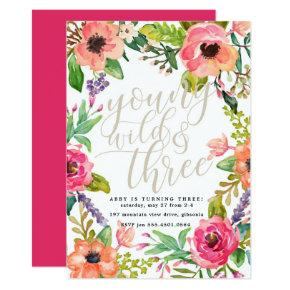 Boho Chic Young Wild and Three Birthday Invitation