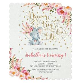 Boho Elephant Birthday Invitations Dream Big Floral