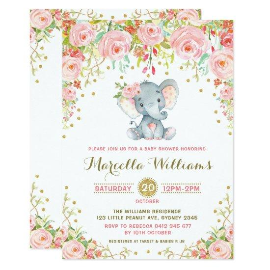 Boho Floral Elephant Invitations Pink Baby Shower