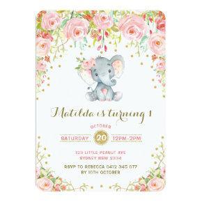 Boho Floral Elephant Invitations Pink Gold Birthday
