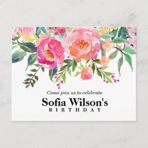 boho floral, flower birthday Post invitation
