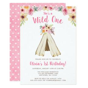Boho Floral Tribal Teepee Wild One 1st Birthday Card