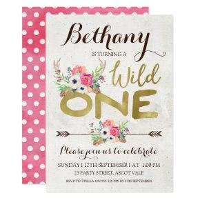 Boho Floral Wild One Birthday Invitation