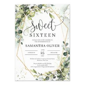 Boho greenery leaves gold geometric sweet sixteen invitation
