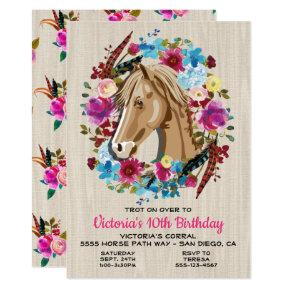 Boho Horse Birthday Party Invitation
