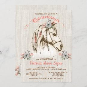 Boho Horse Cowgirl Quinceañera 15th Birthday Invitation