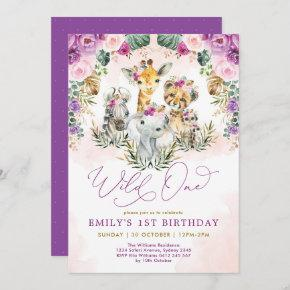 Boho Jungle Animals Wild One Girl 1st Birthday Invitation