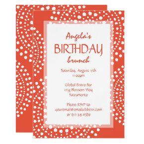 Boho Mosaic Tribal Birthday Orange Invitation