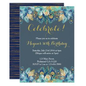 Boho Peacock Feather Gold and Navy Invitations