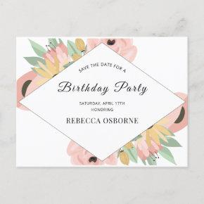Boho Pink Floral Save The Date Birthday Invitation Post