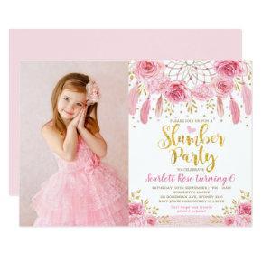Boho Pink Gold Roses Dream Catcher Slumber Party Invitation