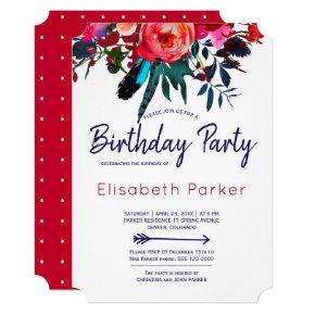 Boho red navy blue floral bouquet birthday party invitation