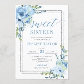 Boho silver geometric blue floral sweet sixteen invitation