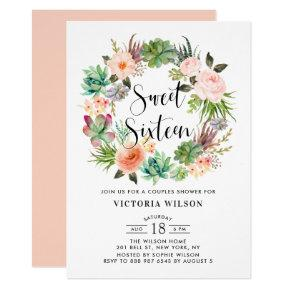 Boho Succulents Floral Wreath Sweet Sixteen Party Invitation